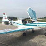 Electric eFusion aircraft flies above Goodwood